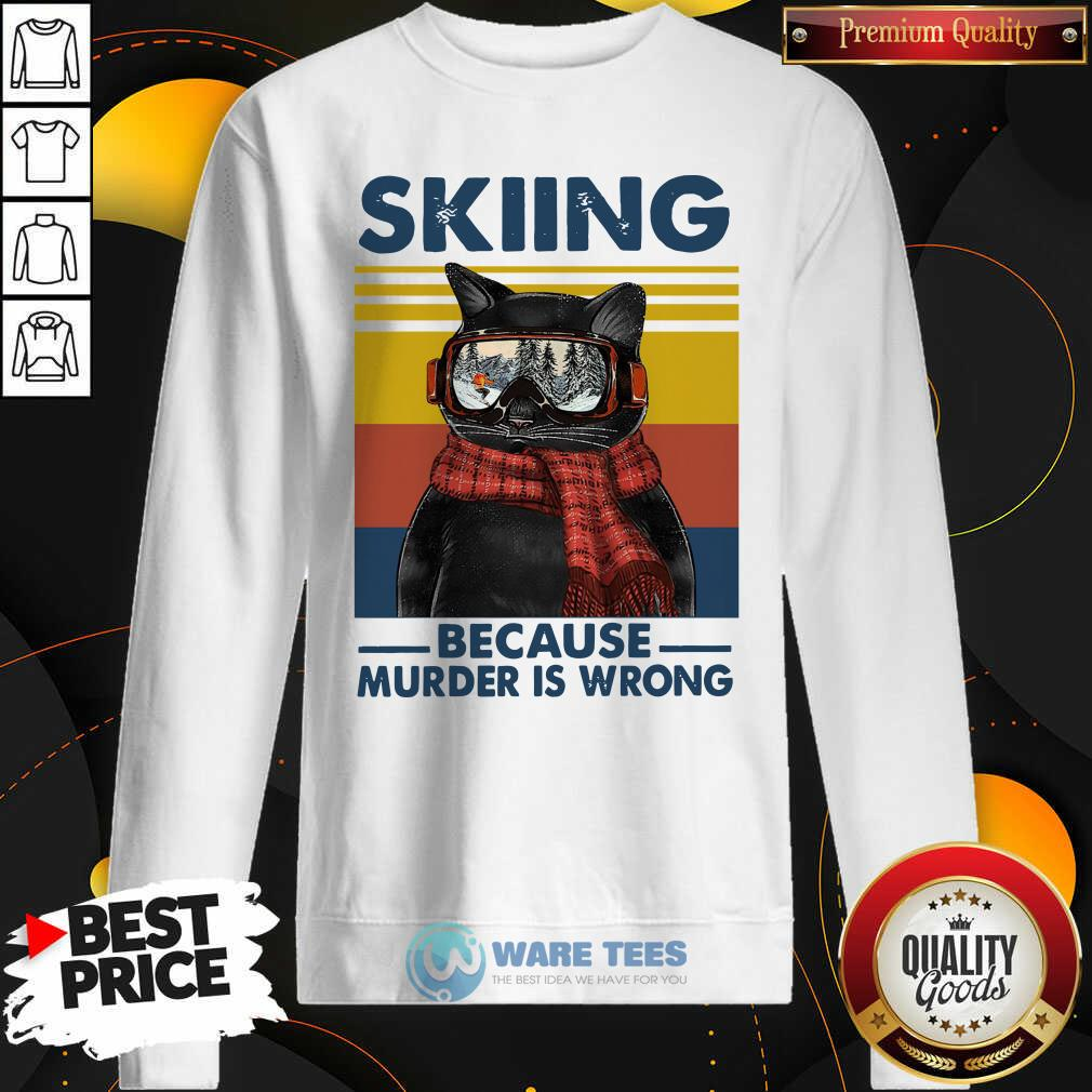 Black Cat Skiing Because Murder Is Wrong Vintage Retro Sweatshirt- Design by Waretees.com