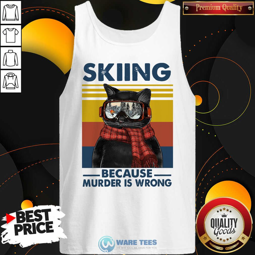 Black Cat Skiing Because Murder Is Wrong Vintage Retro Tank-Top- Design by Waretees.com