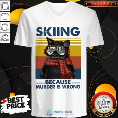 Black Cat Skiing Because Murder Is Wrong Vintage Retro V-neck- Design by Waretees.com