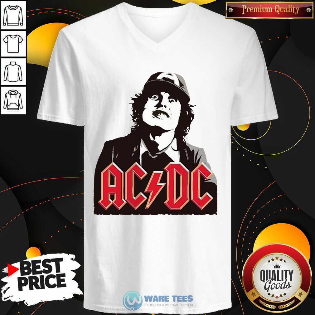 Classic Rock Magazine Ac Dc V-neck- Design by Waretees.com