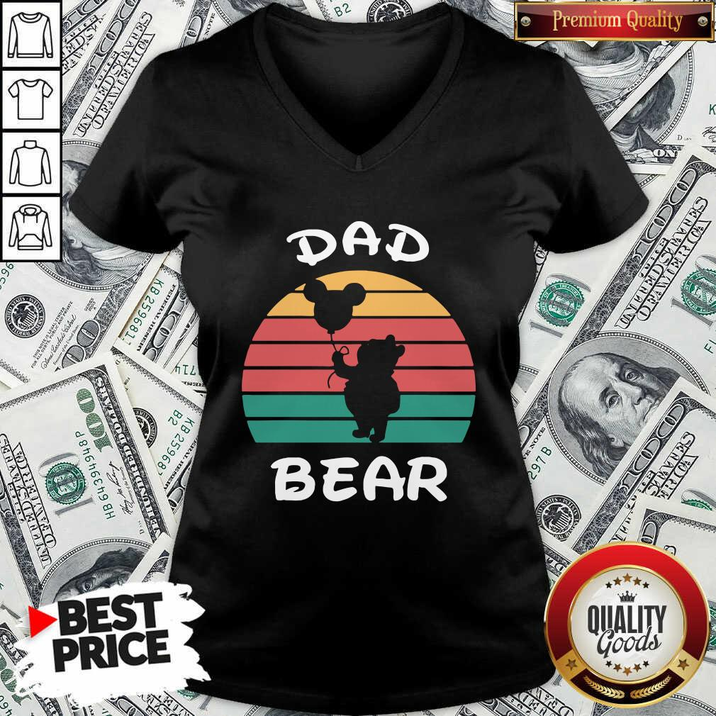 Dad Bear Disney Vintage Retro V-neck - Design By Waretees.com