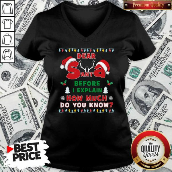 Dear Santa Before I Explain How Much Do You Know Christmas V-neck - Design By Waretees.com