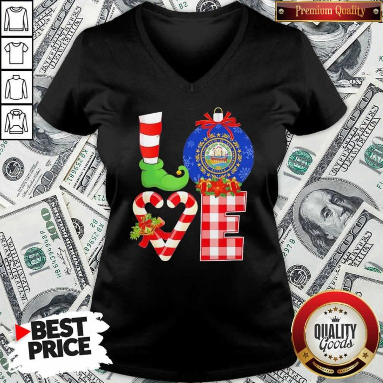 Elf Love Seal Of The State Of Hampshire 1776 Christmas V-neck - Design By Waretees.com