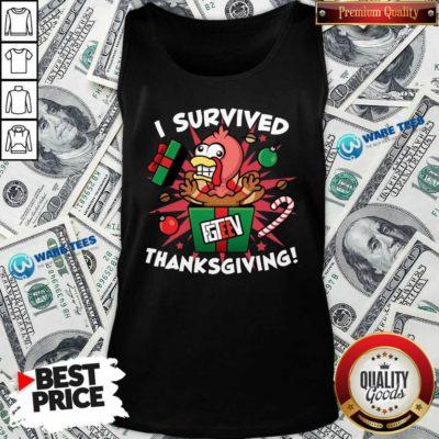 Fgshirtv Merch I Survived Thanksgiving Tank-Top- Design by Waretees.com