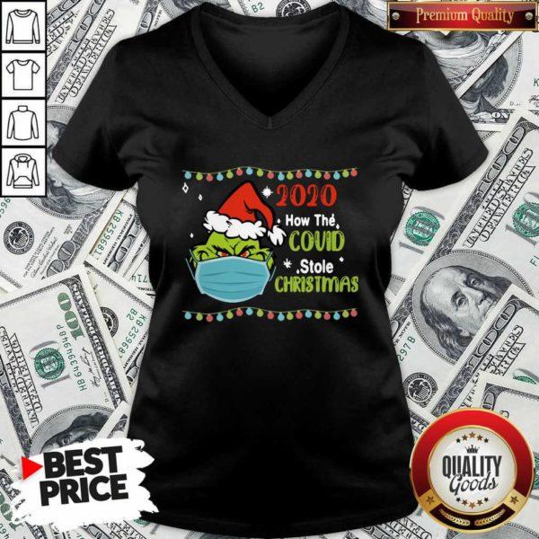 Grinch 2020 How Covid Stole Christmas V-neck - Design by Waretee.com