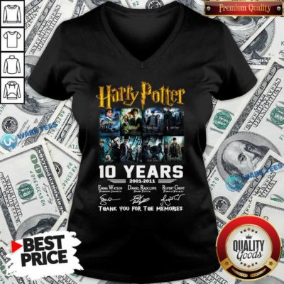 Harry Potter 10 Years 2001 2011 Thank You For The Memories Signatures V-neck- Design By Waretees.com