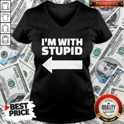 Good I'm With Stupid V-neck - Design by Waretees.com