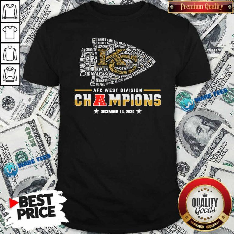 Kansas City Chiefs Afc West Division Champions December 13 2020 Shirt- Design by Waretees.com