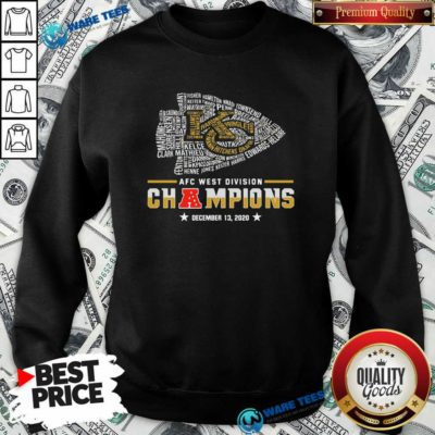 Kansas City Chiefs Afc West Division Champions December 13 2020 Sweatshirt- Design by Waretees.com