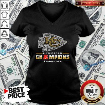 Kansas City Chiefs Afc West Division Champions December 13 2020 V-neck- Design by Waretees.com