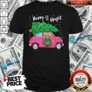 Merry And Bright Pitbull Dog Ugly Christmas Shirt- Design by Waretees.com