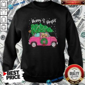 Merry And Bright Pitbull Dog Ugly Christmas Sweatshirt- Design by Waretees.com