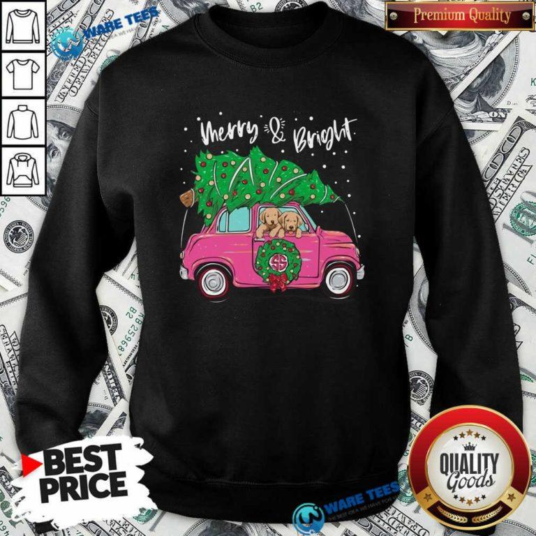 Merry And Bright Pitbull Dog Ugly Christmas Sweatshirt- Design by Waretees.com