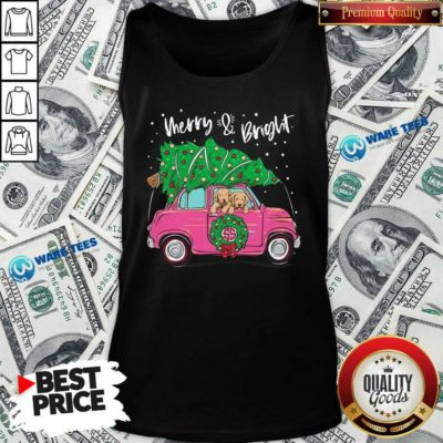 Merry And Bright Pitbull Dog Ugly Christmas Tank-Top- Design by Waretees.com