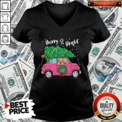 And Bright Pitbull Dog Ugly Christmas V-neck- Design by Waretees.com