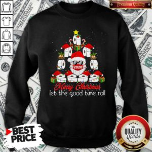 Good Merry Christmas Let The Good Time Roll Santa Face Mask 2020 Toilet Paper Xmas Tree Sweatshirt - Design by Waretees.com