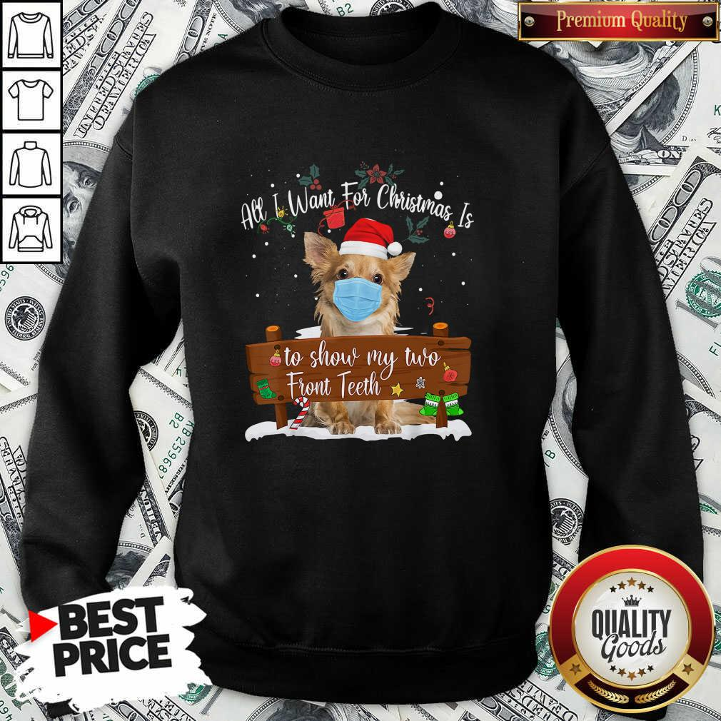 Good Pomeranian Dog Face Mask Call I Want For Christmas Is To Show My Turo Front Teeth Merry Christmas Sweatshirt - Design by Waretees.com