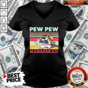 Good Unicorn Pew Pew Madafakas Vintage V-neck - Design by Waretees.com