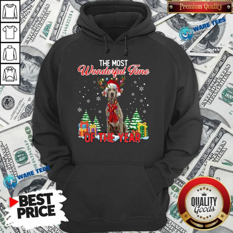 Good Weimaraner The Most Wonderful Time Of The Year Ugly Christmas Hoodie - Design by Waretees.com