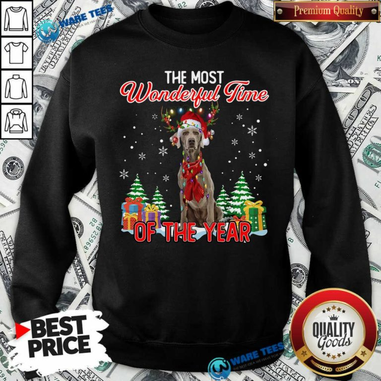 Good Weimaraner The Most Wonderful Time Of The Year Ugly Christmas Sweatshirt - Design by Waretees.com