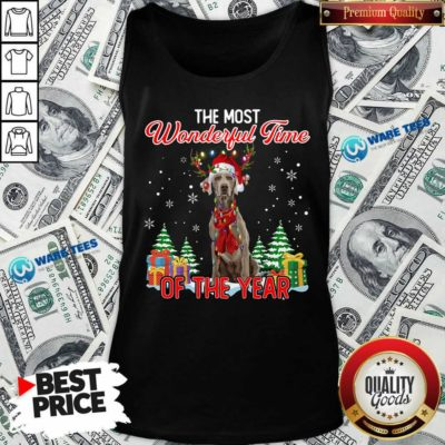Good Weimaraner The Most Wonderful Time Of The Year Ugly Christmas Tank Top - Design by Waretees.com