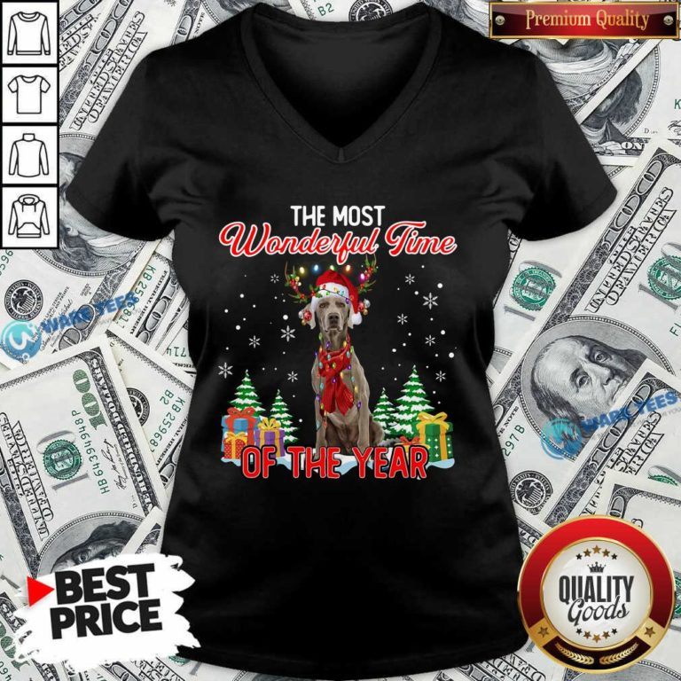 Good Weimaraner The Most Wonderful Time Of The Year Ugly Christmas V-neck - Design by Waretees.com