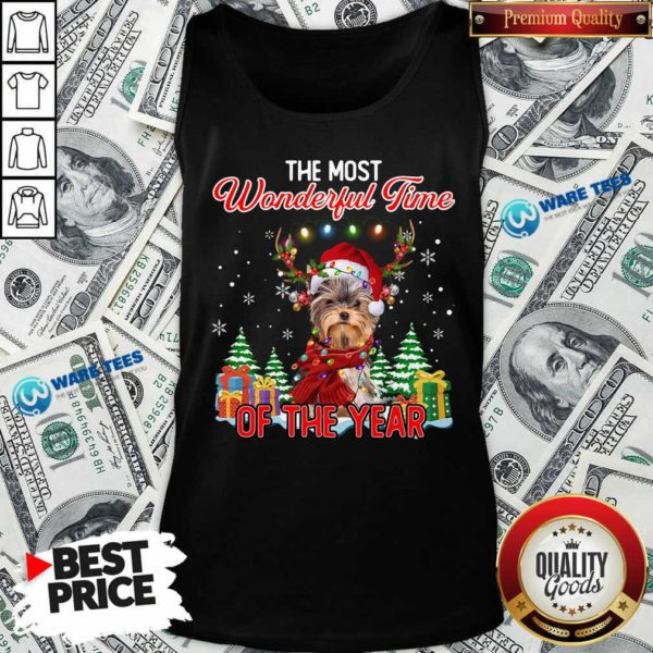 Good Yorkshire Terrier The Most Wonderful Time Of The Year Christmas Tank Top - Design by Waretees.com