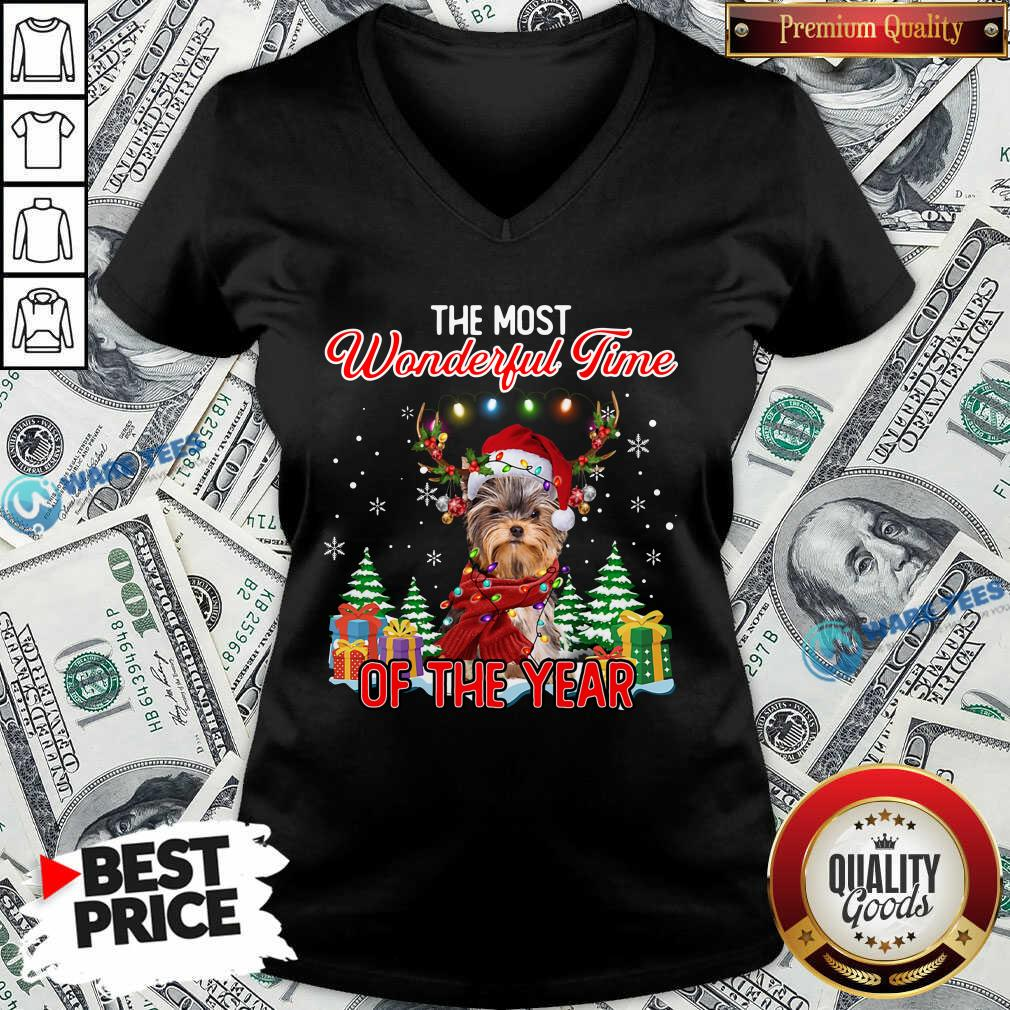 Good Yorkshire Terrier The Most Wonderful Time Of The Year Christmas V-neck - Design by Waretees.com