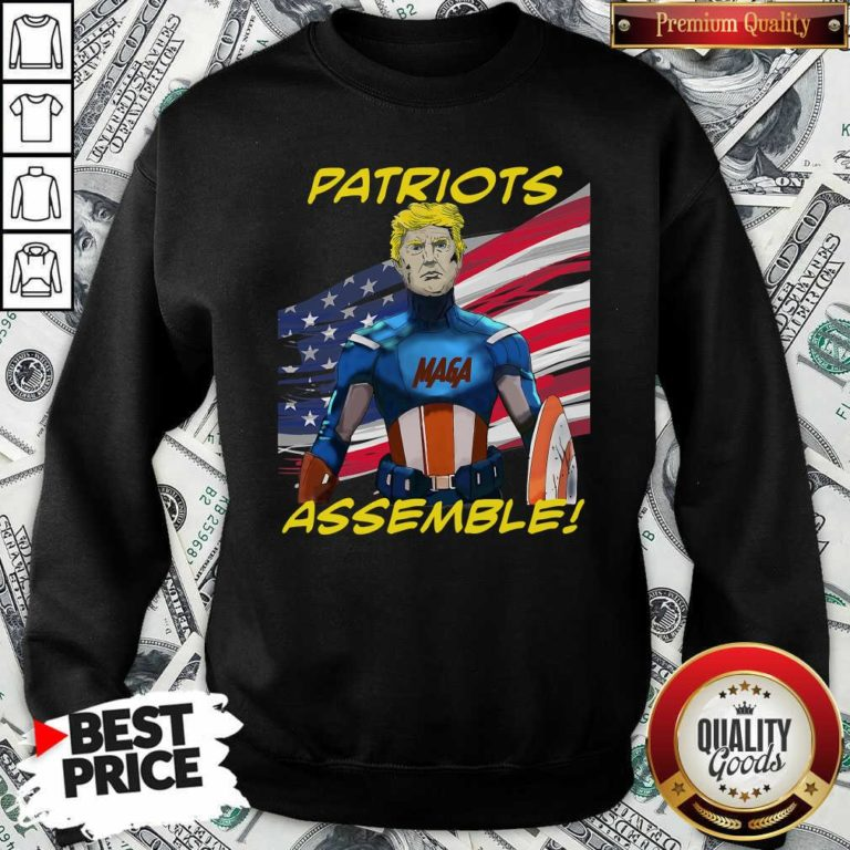 Patriots Assemble Donald Trump Maga American Flag Sweatshirt - Design By Waretees.com