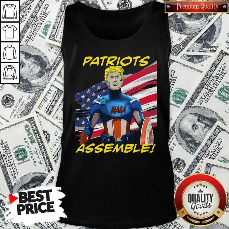 Patriots Assemble Donald Trump Maga American Flag Tank Top - Design By Waretees.com