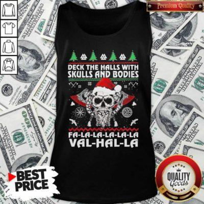 Deck The Halls With Skulls And Bodies Fa La La La Val Halla Ugly Christmas Tank Top - Design By Waretees.com