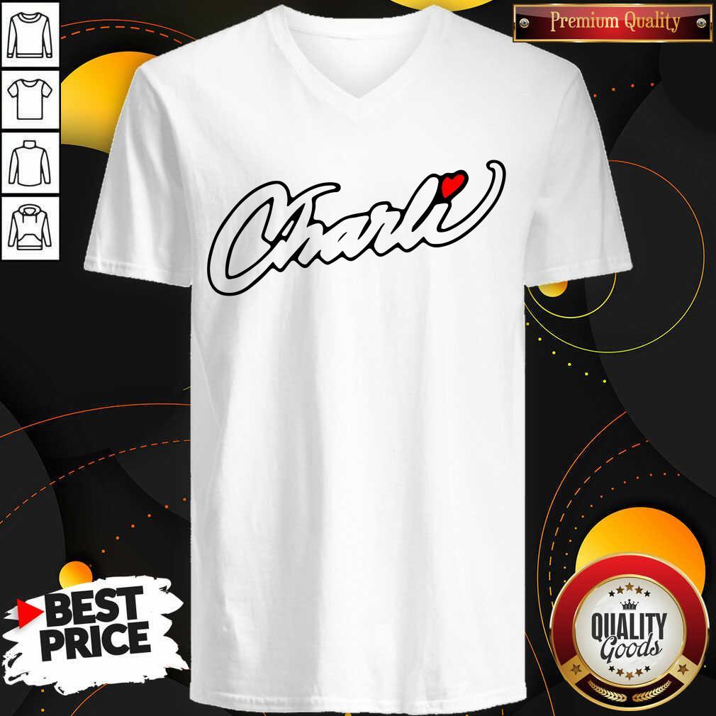 Hot Fake Charli Merch Charli Script V-neck - Design by Waretees.com