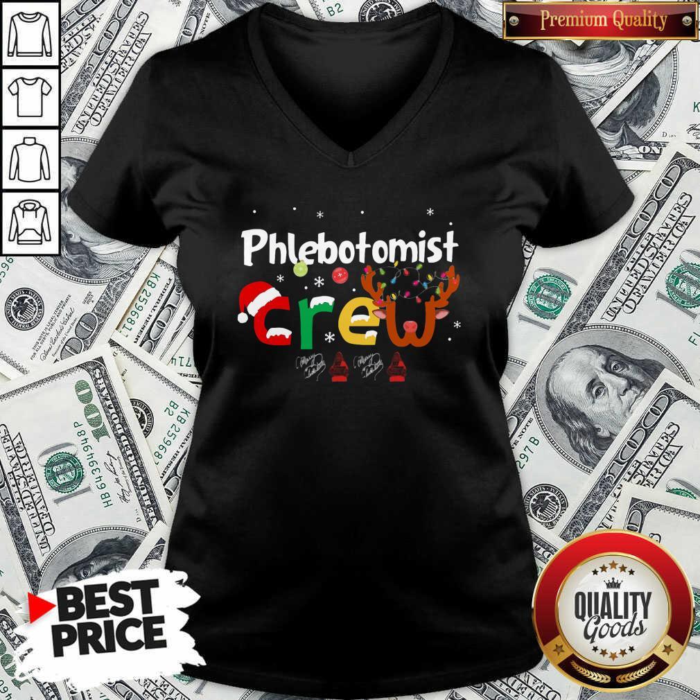 Hot Phlebotomist Crew Merry Christmas V-neck - Design by Waretees.com