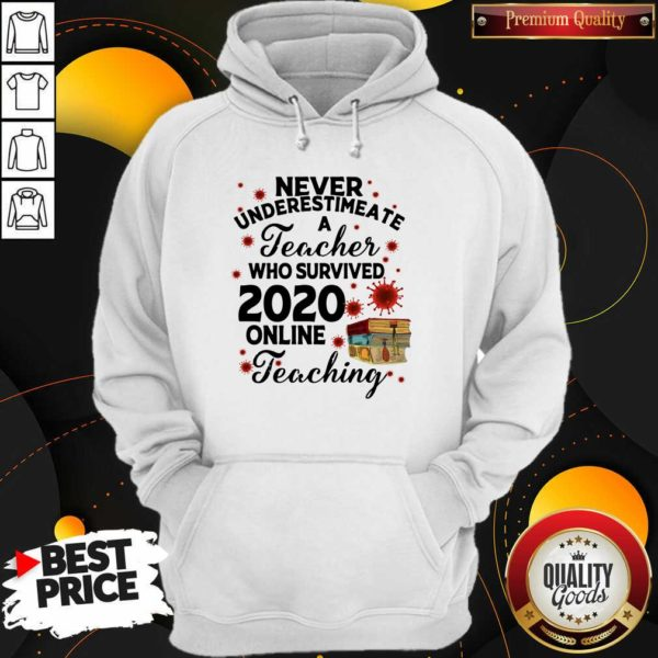 Never Underestimate A Teacher Who Survived 2020 Online Teaching Hoodie - Design by Waretees.com