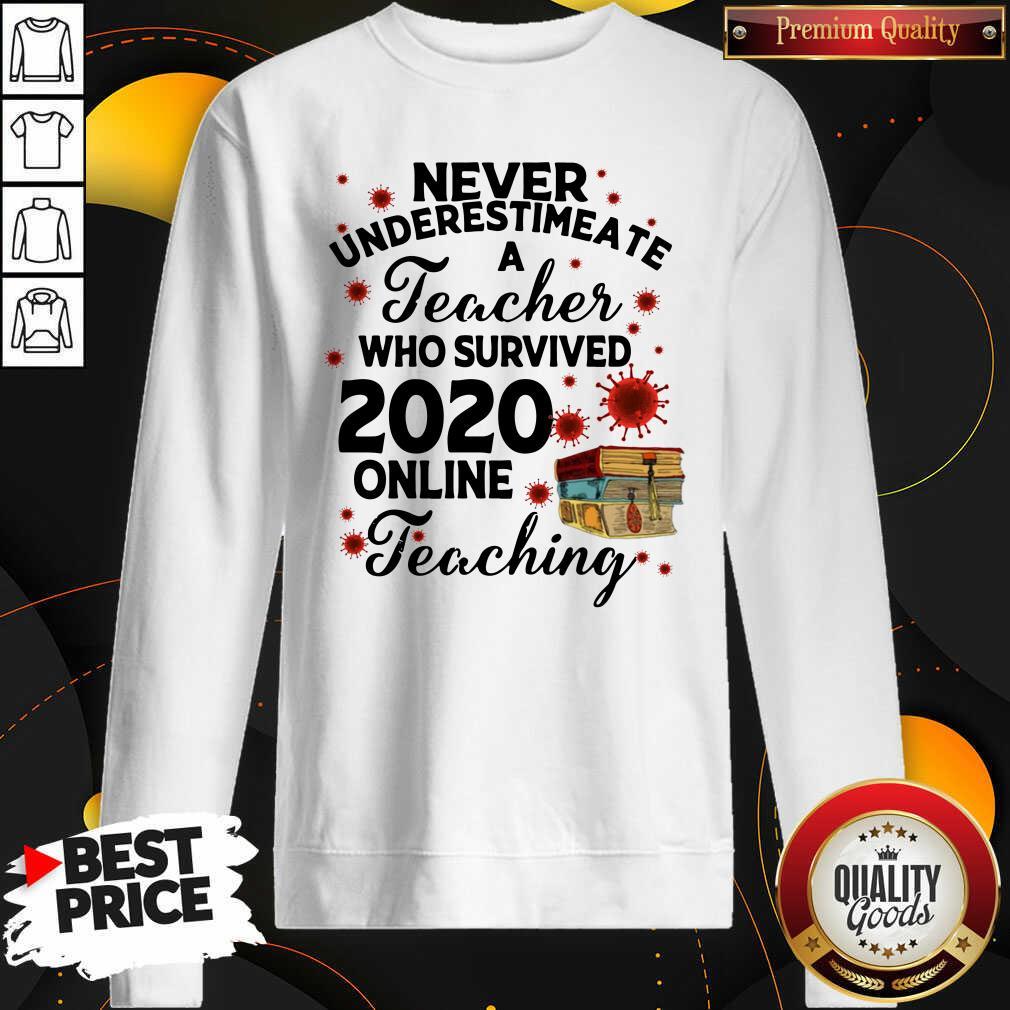 Never Underestimate A Teacher Who Survived 2020 Online Teaching Sweatshirt - Design by Waretees.com