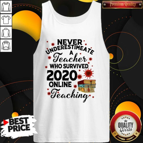 Never Underestimate A Teacher Who Survived 2020 Online Teaching Tank Top - Design by Waretees.com