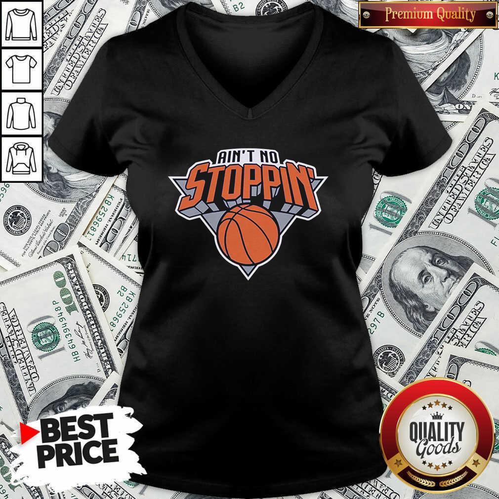 Nice Ain't No Stoppin' New York Basketball V-neck - Design by Waretees.com