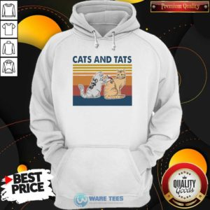 Cats And Tats Tattoo Vintage Retro Hoodie- Design by Waretees.com