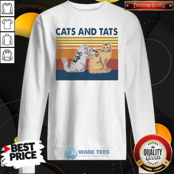 Cats And Tats Tattoo Vintage Retro Sweatshirt- Design by Waretees.com