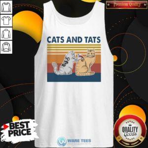 Cats And Tats Tattoo Vintage Retro Tank-Top- Design by Waretees.com