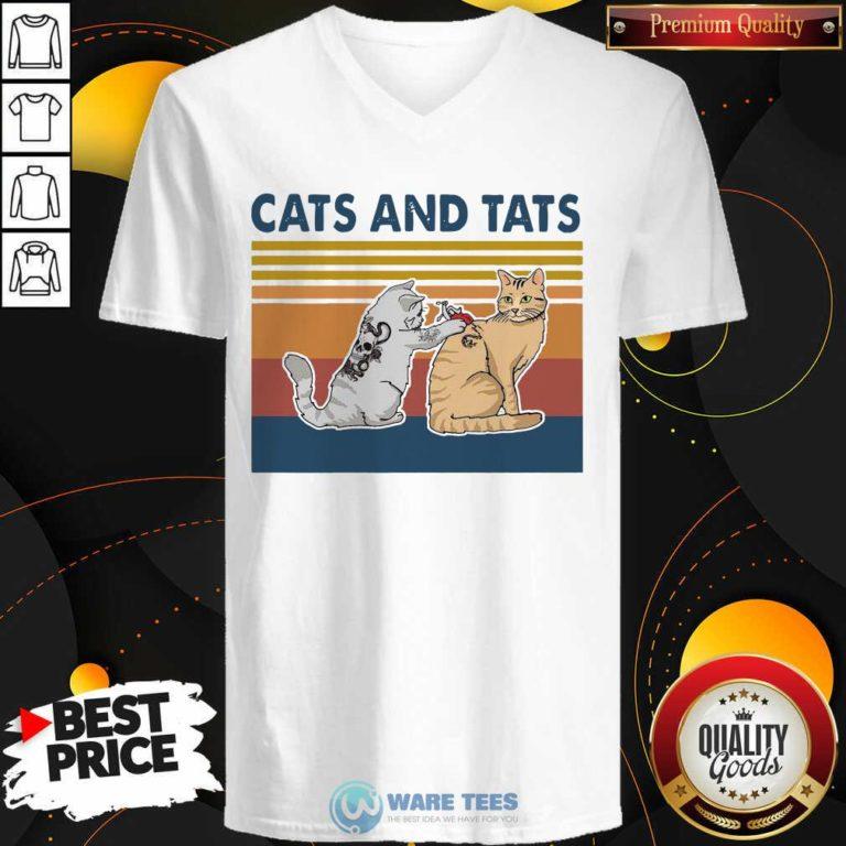Cats And Tats Tattoo Vintage Retro V-neck- Design by Waretees.com