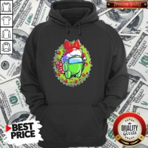 Green Among Us Hat Santa Happy Merry Christmas Hoodie - Design By Waretees.com