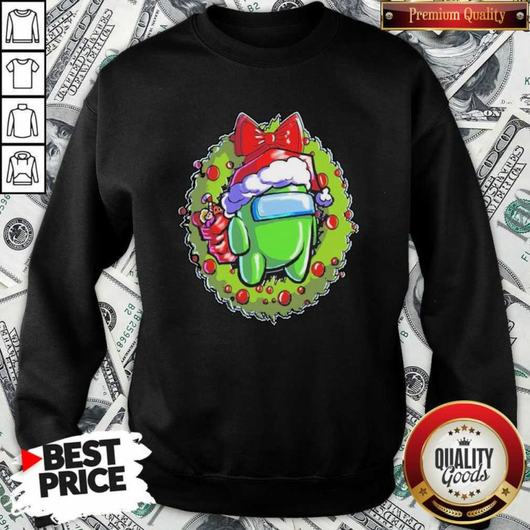 Green Among Us Hat Santa Happy Merry Christmas Sweatshirt - Design By Waretees.com