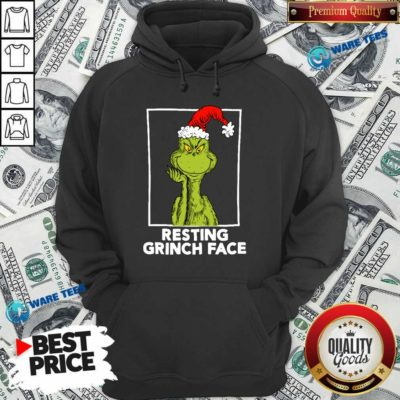 Grinch Santa Resting Grinch Face Hoodie- Design by Waretees.com
