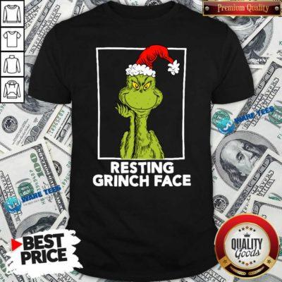 Grinch Santa Resting Grinch Face Shirt- Design by Waretees.com