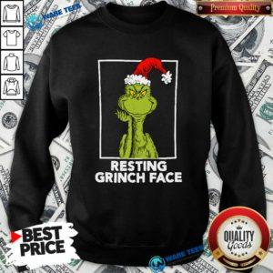 Grinch Santa Resting Grinch Face Sweatshirt- Design by Waretees.com
