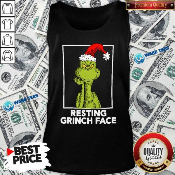Grinch Santa Resting Grinch Face Tank-Top- Design by Waretees.com