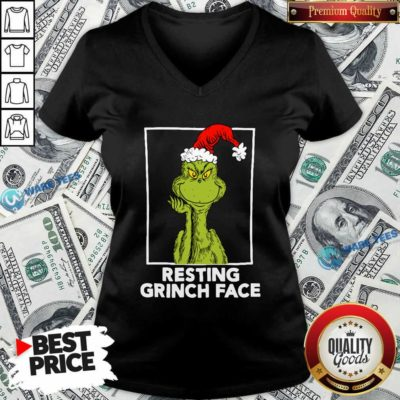 Grinch Santa Resting Grinch Face V-neck- Design by Waretees.com