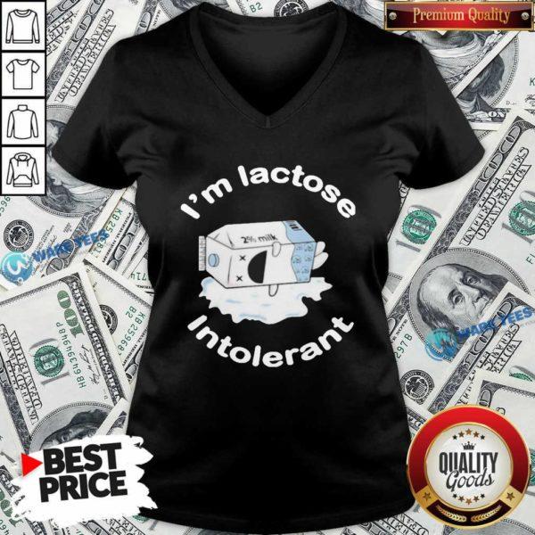 I'm Lactose Intolerant Milk V-neck- Design by Waretees.com