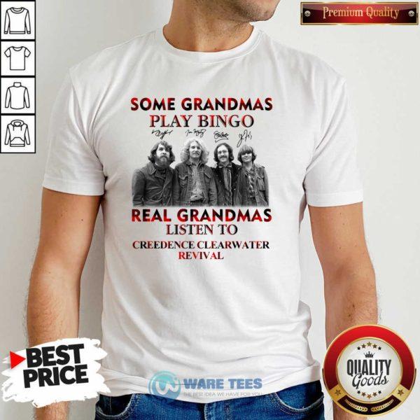 Plaid Some Grandmas Play Bingo Real Grandmas Listen To Creedence Clearwater Revival Signature Shirt- Design by Waretees.com